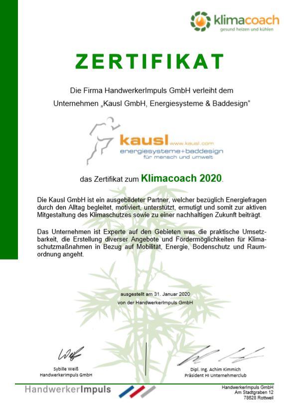 Klimacoach Zertifikat